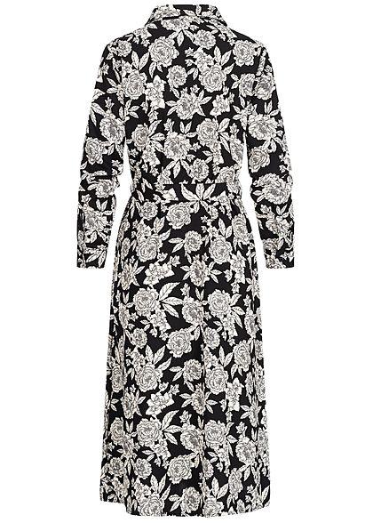 JDY by ONLY Damen Midi Longform Kleid Rosen Print inkl Bindegürtel schwarz weiss