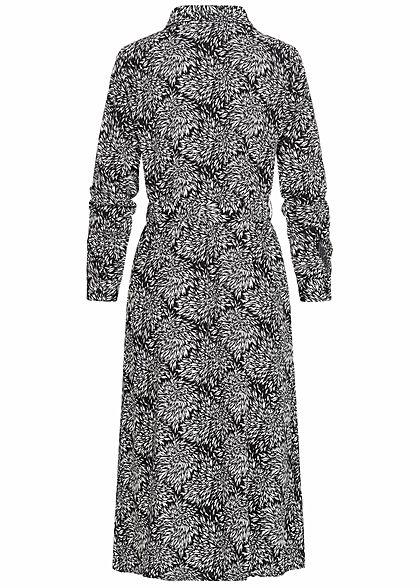 JDY by ONLY Damen Midi Longform Kleid Floraler Print inkl Bindegürtel weiss schwarz