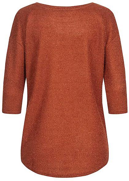 Hailys Damen Struktur Sweater Strickpullover Vokuhila caramel braun