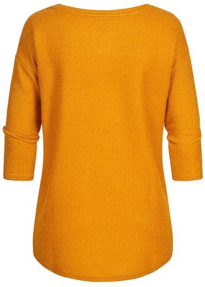 Hailys Damen Struktur Sweater Strickpullover Vokuhila curry dunkel gelb