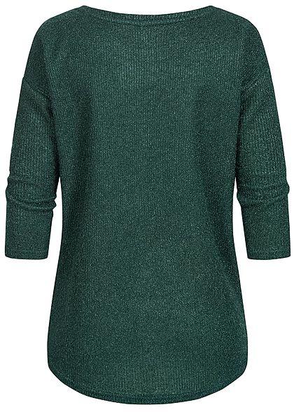 Hailys Damen Struktur Sweater Strickpullover Vokuhila dunkel grün