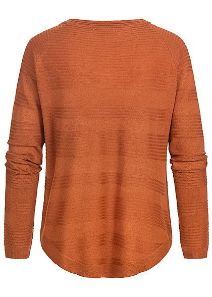 Hailys Damen leichter Struktur Strickpullover Sweater Querstreifen caramel braun