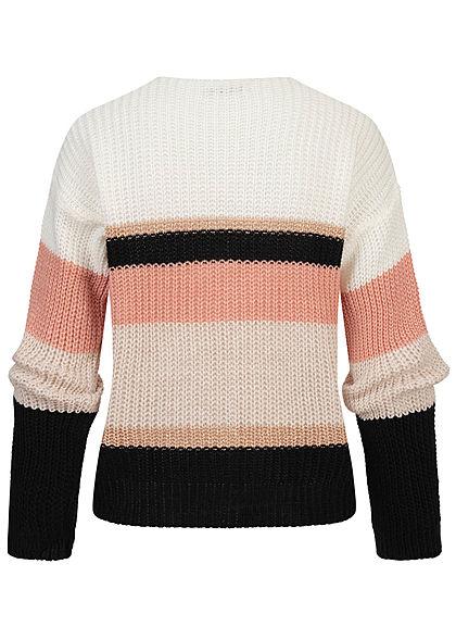 Hailys Damen V-Neck Glitzer Strickcardigan Knopfleiste Streifen Muster rosa weiss