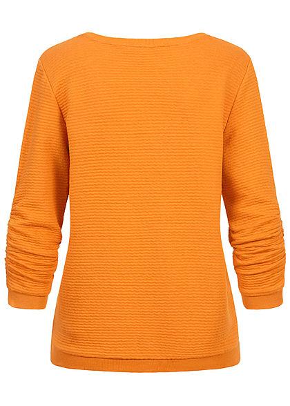 Tom Tailor Damen 3/4 Arm V-Neck Ottoman Struktur Pullover Sweater orange gelb