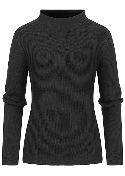 Tom Tailor Damen High-Neck Struktur Pullover Sweater schwarz