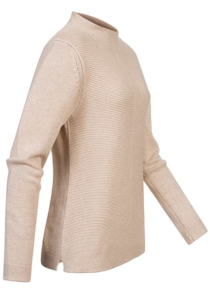 Tom Tailor Damen High-Neck Struktur Pullover Sweater dessert sand beige