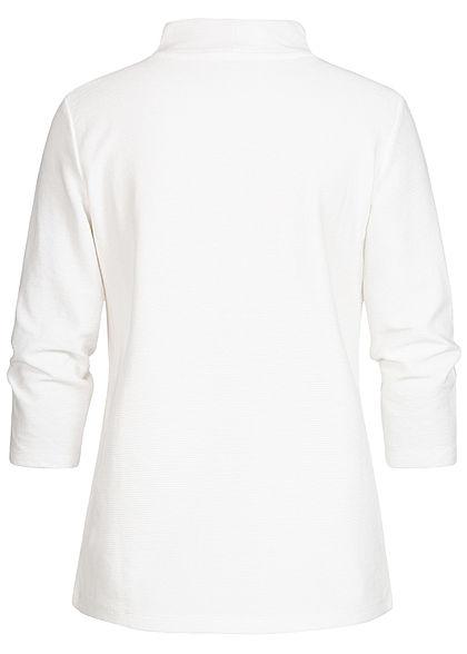 Tom Tailor Damen 3/4 Arm Ribbed High-Neck Longsleeve Pullover whisper weiss