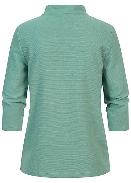Tom Tailor Damen 3/4 Arm Ribbed High-Neck Longsleeve Pullover salvia grün