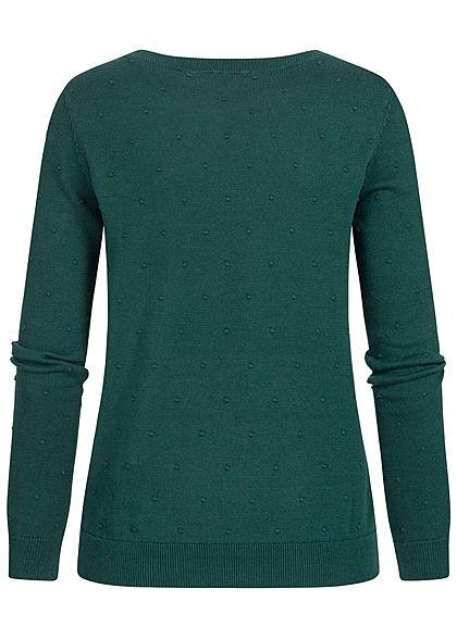 Tom Tailor Damen gepunkteter Strickpullover Sweater mit Rippbündchen lake dunkel grün