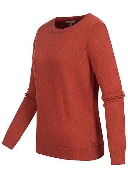 Tom Tailor Damen gepunkteter Strickpullover Sweater mit Rippbündchen rost braun