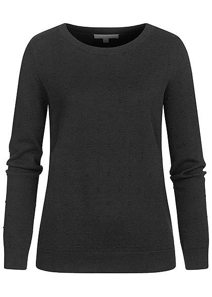Tom Tailor Damen gepunkteter Strickpullover Sweater mit Rippbündchen tief schwarz