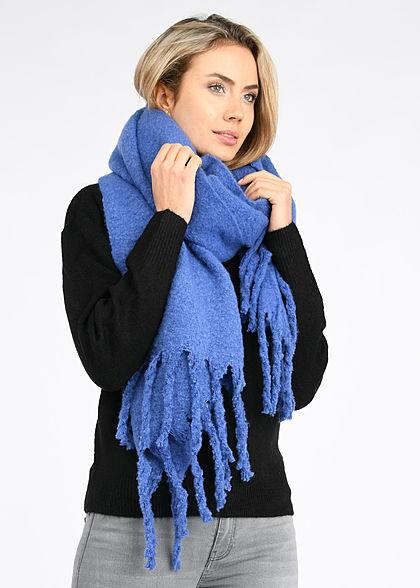 Tom Tailor Damen grober Schal mit Fransen 190 x 70cm unicolor ultramarine blau