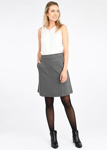 Tom Tailor Damen Rock Jaquard Muster 2-Pockets Zipper seiltich dunkel grau schwarz