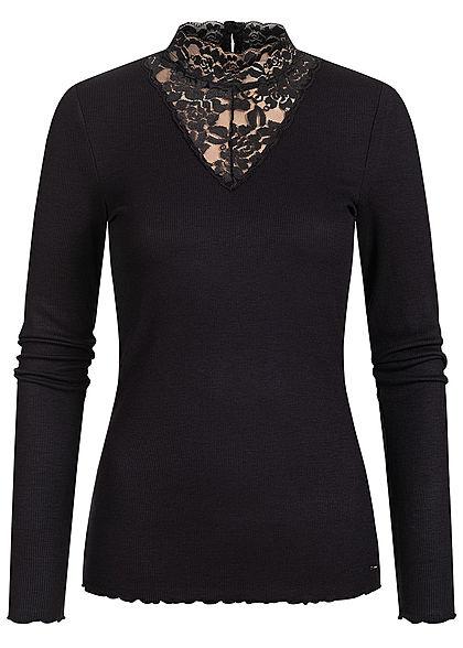 Tom Tailor Damen Ribbed Choker Spitzen Longsleeve Pullover Frilldetails am Saum schwarz