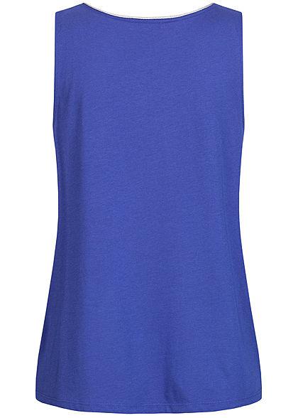 Tom Tailor Damen Blusen Top mit Lurex Saumkante Knopf vorne ultramarine tief blau