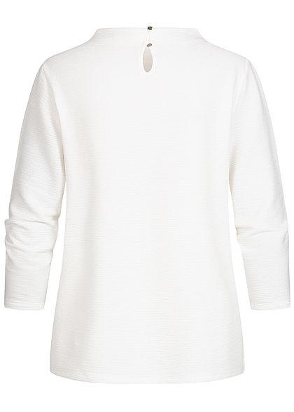 Tom Tailor Damen 3/4 Arm High-Neck Struktur Blusen Shirt Jacquard Muster weiss