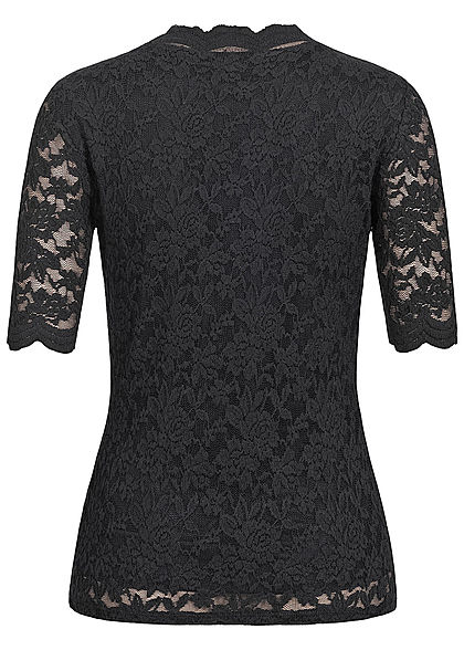 Tom Tailor Damen 1/2 Arm V-Neck Spitzen T-Shirt 2-lagig tief schwarz
