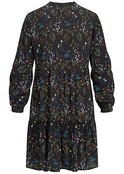 Tom Tailor Damen Oversized Krepp Kleid mit Schleife Floraler Print schwarz multic.