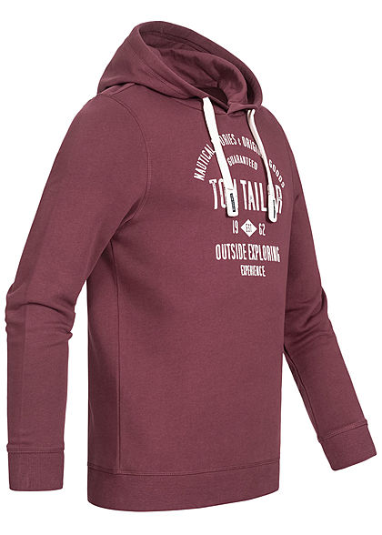 Tom Tailor Herren Hoodie mit Kapuze Logo Print Tunnelzug dusty wildbeere bordeaux rot