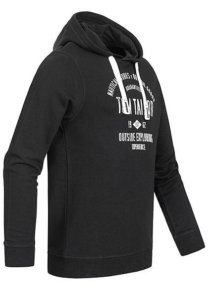 Tom Tailor Herren Hoodie mit Kapuze Logo Print Tunnelzug schwarz weiss