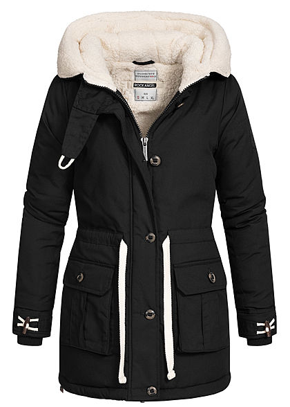 Rock Angel Damen Winter Steppmantel Jacke 2-Pockets Kapuze Taillenzug schwarz - Art.-Nr.: 20110163