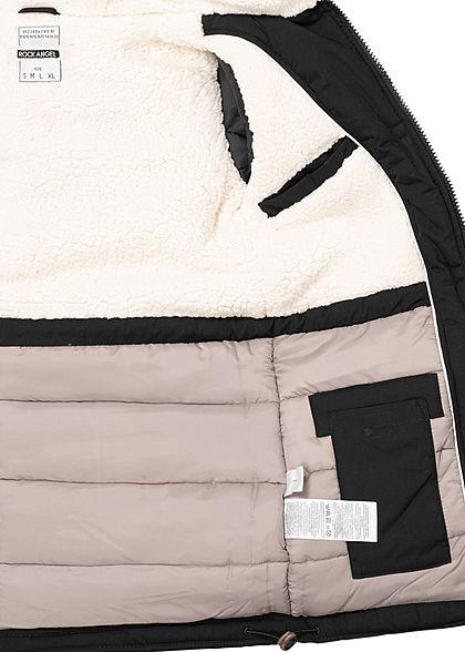 Rock Angel Damen Winter Steppmantel Jacke 2-Pockets Kapuze Taillenzug schwarz