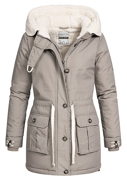 Rock Angel Damen Winter Steppmantel Jacke 2-Pockets Kapuze Taillenzug middle grau - Art.-Nr.: 20110164