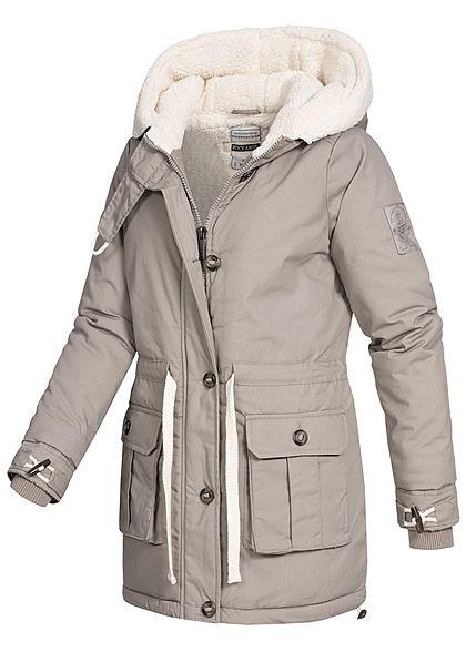 Rock Angel Damen Winter Steppmantel Jacke 2-Pockets Kapuze Taillenzug middle grau