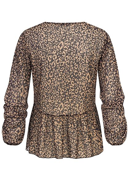 Hailys Damen V-Neck Chiffon Blusen Shirt Leo Print schwarz braun