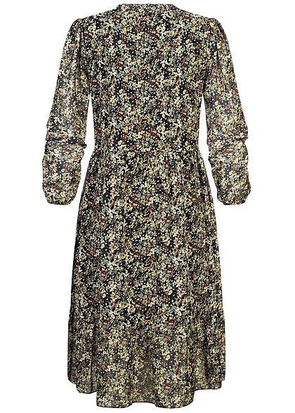 Hailys Damen V-Neck Chiffon Puffer Kleid Blumen Muster 2-lagig schwarz multicolor