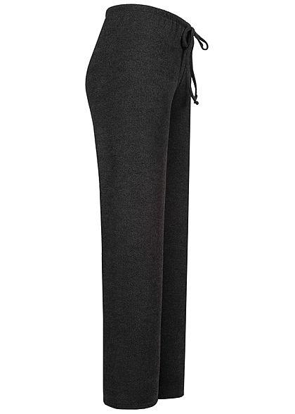 Hailys Damen Ribbed Stoffhose Mid Waist Tunnelzug ausgestellter Schnitt schwarz
