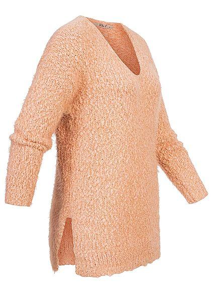 Hailys Damen Oversized Boucle Strickpullover Sweater V-Neck rose