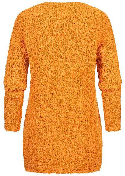 Hailys Damen Oversized Boucle Strickpullover Sweater V-Neck pumpkin orange