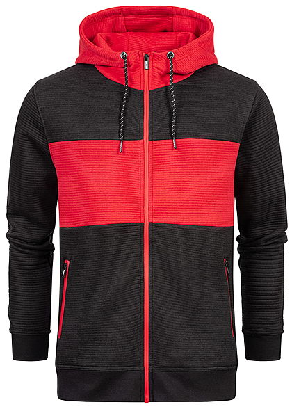 Sublevel Herren 2-Tone Ribbed Zip Hoodie Kapuze 2-Pockets schwarz rot - Art.-Nr.: 20110181