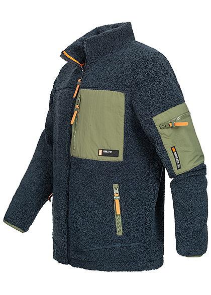 Sublevel Herren warme 2-Tone Struktur Teddyfleece Jacke 3-Pockets navy blau oliv