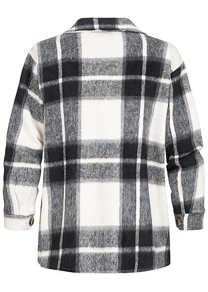 Hailys Damen Soft-Touch Hemd Jacke 2 Brusttaschen Karo Muster schwarz weiss