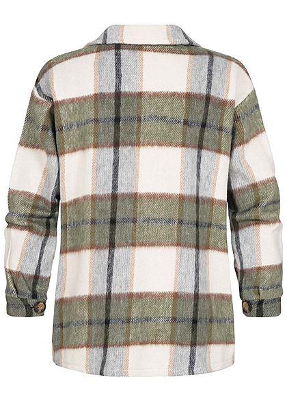 Hailys Damen Soft-Touch Hemd Jacke 2 Brusttaschen Karo Muster khaki