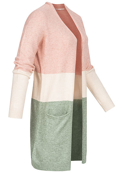 ONLY Damen NOOS Midi Colorblock Cardigan 2-Pockets smoke rosa beige grün