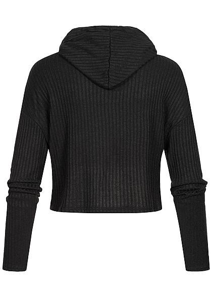Hailys Fashion Damen kurzer Oversized Ripp-Hoodie mit Kapuze & Tunnelzug schwarz