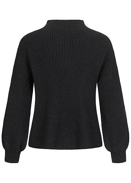 Hailys Fashion Damen High-Neck Ribbed Strickpullover Sweater mit Ballonärmel schwarz