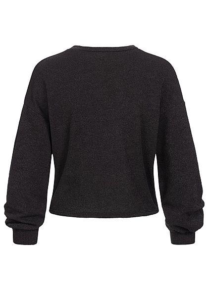 Hailys Fashion Damen Struktur Pullover mit Drehdetail vorne Ballonärmel schwarz