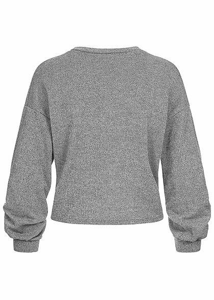 Hailys Fashion Damen Struktur Pullover mit Drehdetail vorne Ballonärmel medium grau mel.
