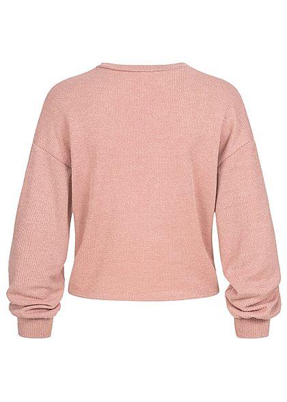 Hailys Fashion Damen Struktur Pullover mit Drehdetail vorne Ballonärmel dunkel rosa
