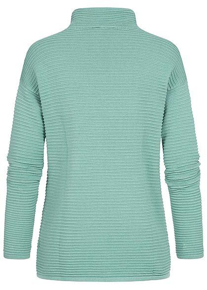 Tom Tailor Damen High-Neck Ottoman Strukturpullover Sweater salvia grün