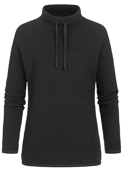 Tom Tailor Damen High-Neck Ottoman Strukturpullover Sweater tief schwarz