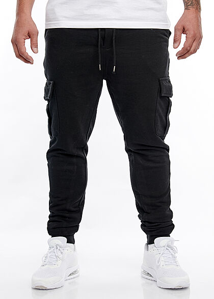 Brave Soul Herren Cargo Sweat Pants Jogginghose 4-Pockets breiter Bund unicolor schwarz