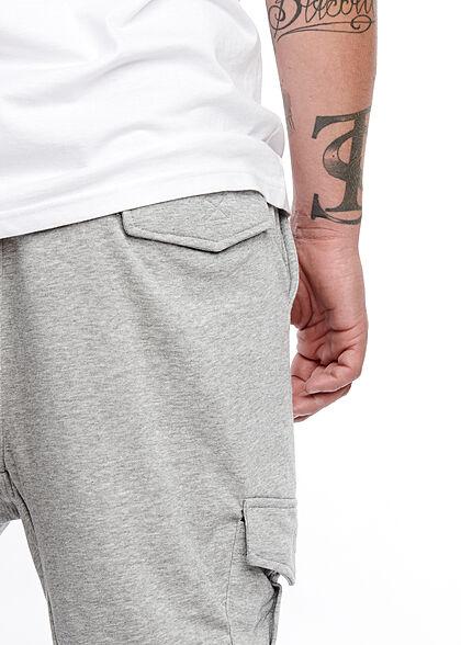 Brave Soul Herren Cargo Sweat Pants Jogginghose 4-Pockets breiter Bund unicolor h. grau