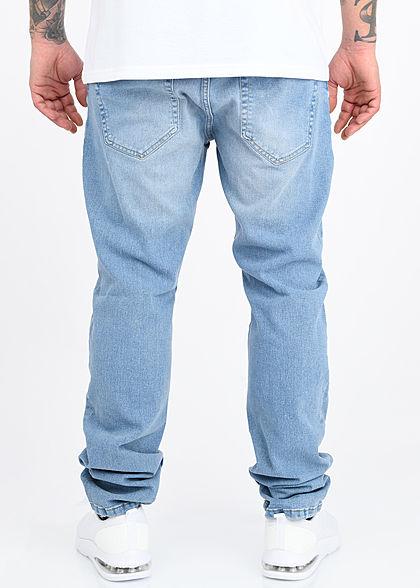 ONLY & SONS Herren Slim Fit Jeans Hose 5-Pockets Destroy Optik hell blau denim