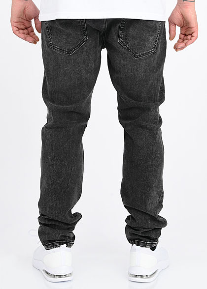 ONLY & SONS Herren Slim Fit Jeans Hose 5-Pockets Destroy Optik washed schwarz denim