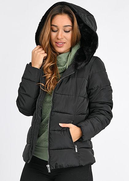 Hailys Damen Winter Steppjacke Kapuze mit Kunstfell gefüttert 2-Pockets schwarz